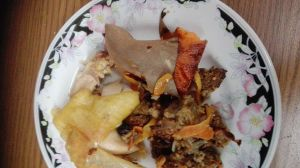 Chicken, stuffing and baked sweet potatoe